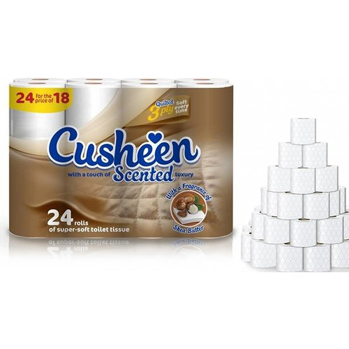 48 Rolls of Cusheen Quilted Shea Butter Scented Toilet Paper