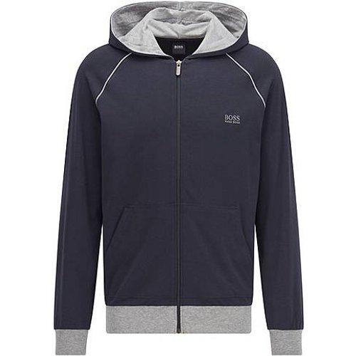 Veste zippée à capuche en jersey de coton stretch, à passepoils contrastants - Boss - Modalova