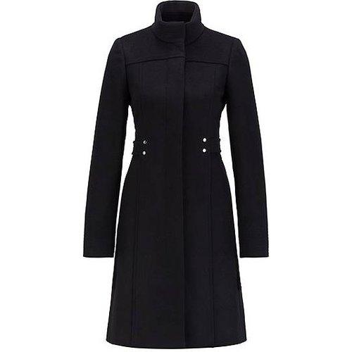Manteau en laine vierge mélangée avec détails de ceinture à ornements métalliques - Boss - Modalova