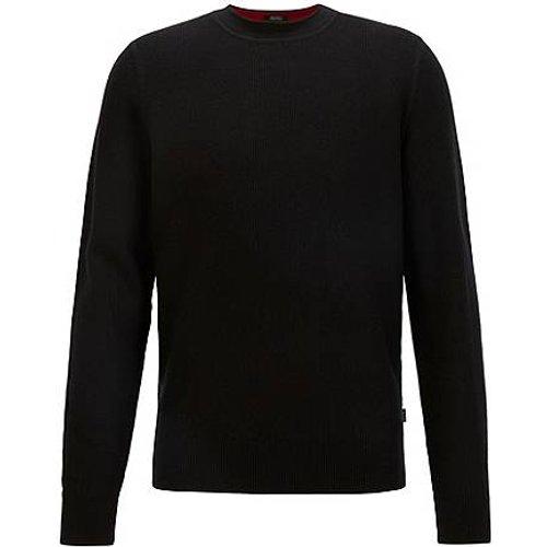 Pull Regular Fit en maille structurée de coton et de laine - Boss - Modalova