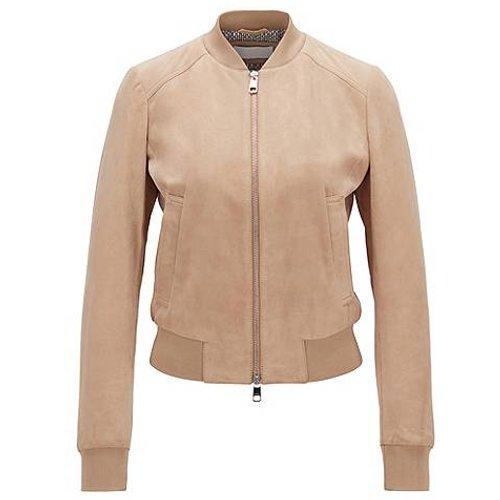Veste en cuir suédé style blouson avec doublure à imprimé monogramme - Boss - Modalova