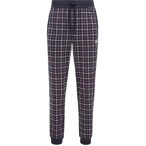 Pantalon de pyjama en coton interlock à carreaux, resserré au bas des jambes - Boss - Modalova