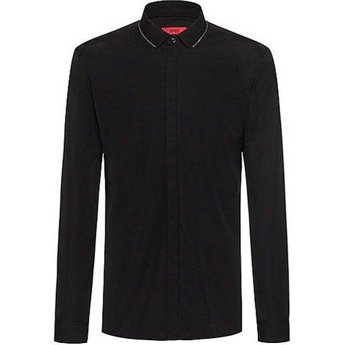 Chemise Extra Slim Fit en coton avec fermeture éclair au niveau du col - HUGO - Modalova