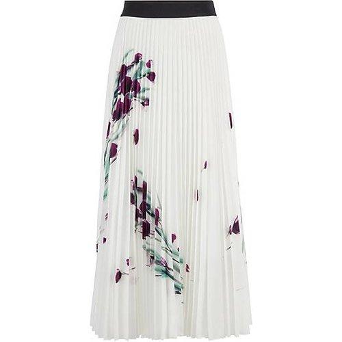 Jupe mi-longue plissée avec imprimé à fleurs placé - Boss - Modalova