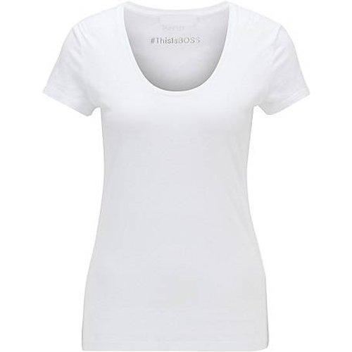 T-shirt Slim Fit en coton et modal à encolure dégagée - Boss - Modalova