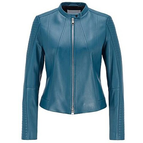 Veste en cuir nappa Regular Fit à col mao - Boss - Modalova
