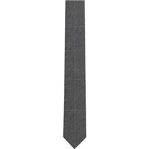 Cravate en soie mélangée chinée à grands carreaux - HUGO - Modalova