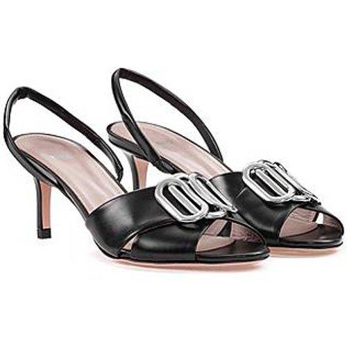 Sandales en cuir italien avec garniture en métal - HUGO - Modalova