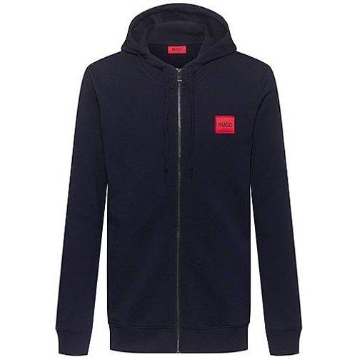Sweat zippé à capuche en molleton avec étiquette logo - HUGO - Modalova