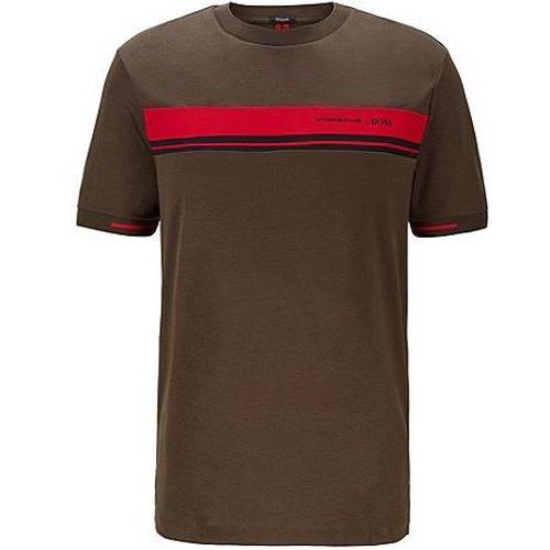 T-shirt à col rond en coton avec imprimé exclusif - Boss - Modalova