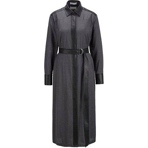 Robe-chemise en laine traçable avec détails en similicuir - Boss - Modalova