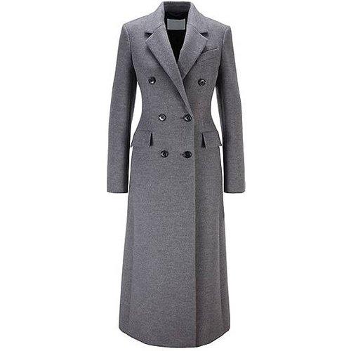 Manteau croisé long en laine vierge chinée - Boss - Modalova