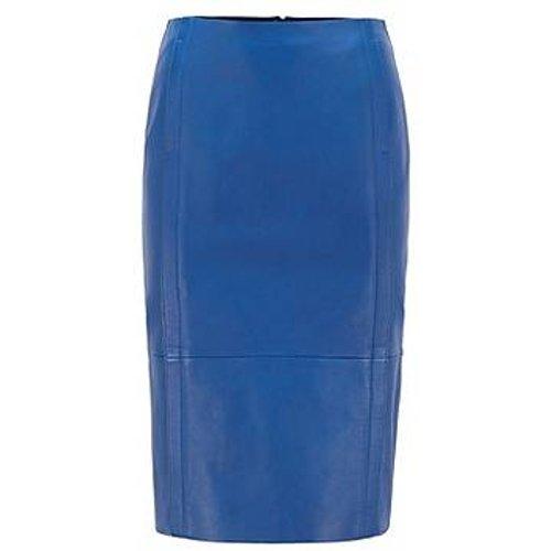Jupe crayon en cuir à coutures caractéristiques et fermeture éclair invisible - Boss - Modalova