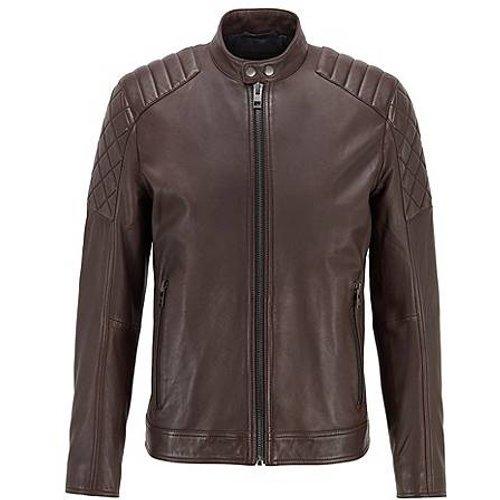 Blouson de motard SlimFit en cuir ciré - Boss - Modalova