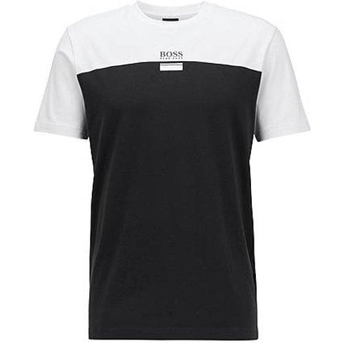 T-shirt en coton stretch à col rond et logo imprimé - Boss - Modalova