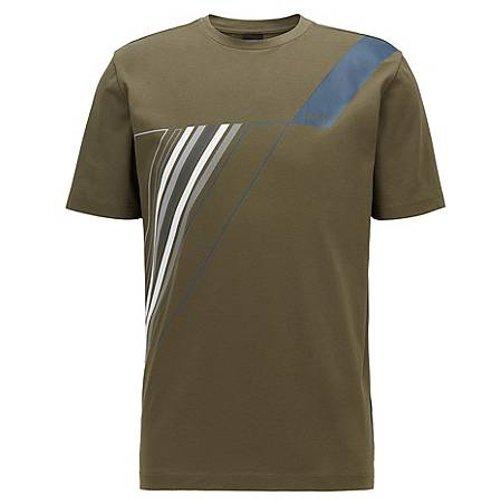 T-shirt à col rond en coton stretch avec imprimé artistique réfléchissant - Boss - Modalova