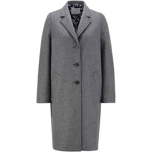 Manteau droit en laine vierge chinée mélangée - Boss - Modalova
