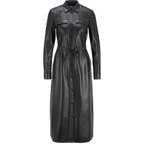 Robe-chemise à manches longues en similicuir - Boss - Modalova