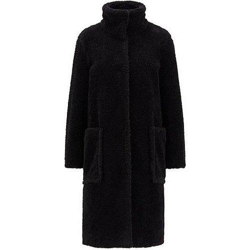Manteau long Relaxed Fit en peluche à col montant - Boss - Modalova