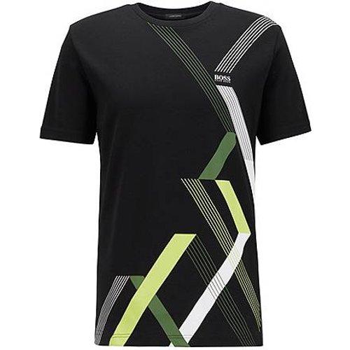 T-shirt à col rond en coton interlock à imprimé géométrique - Boss - Modalova