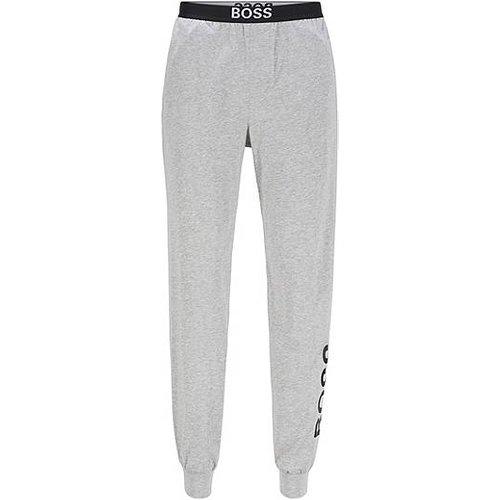 Pantalon de pyjama en coton stretch avec logos et bas de jambes resserrés - Boss - Modalova