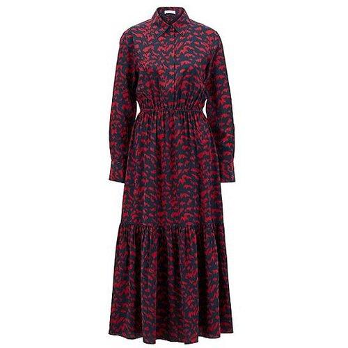 Robe-chemise imprimée avec taille froncée et patte de boutonnage style polo - Boss - Modalova