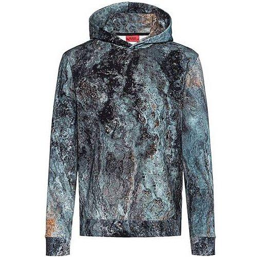 Sweat à capuche en coton avec imprimé marbré emblématique de la collection - HUGO - Modalova