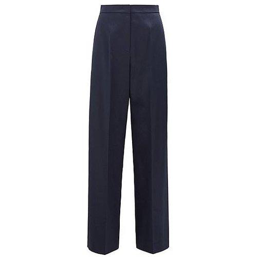 Pantalon large en coton stretch, à taille haute - Boss - Modalova