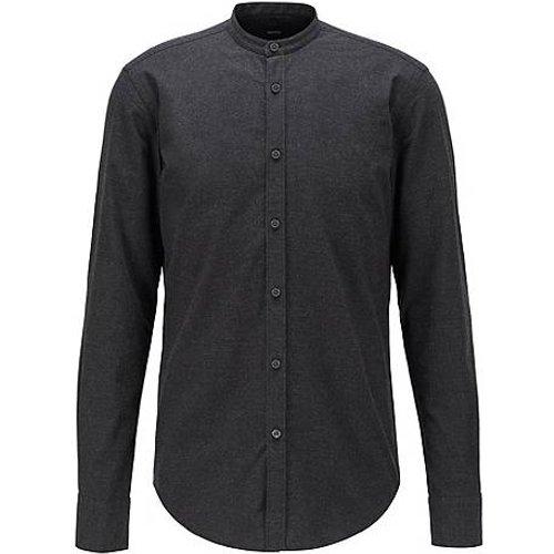 Chemise Slim Fit à col mao, en flanelle de coton brossée - Boss - Modalova