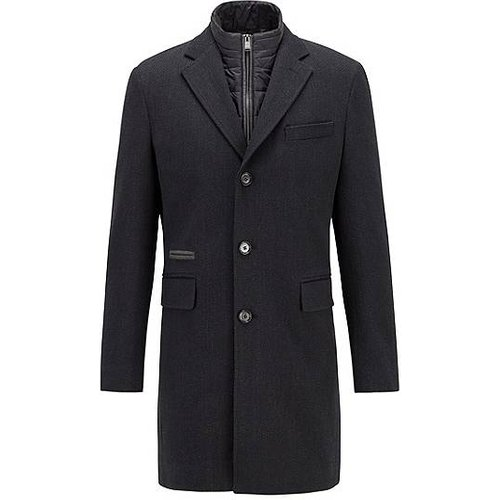 Manteau en laine mélangée avec empiècement intérieur zippé amovible - Boss - Modalova