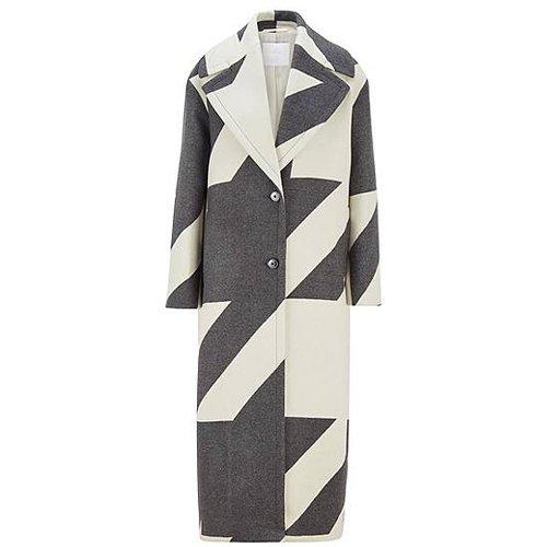 Manteau long Oversized Fit en jacquard de laine vierge à motif pied-de-poule - Boss - Modalova