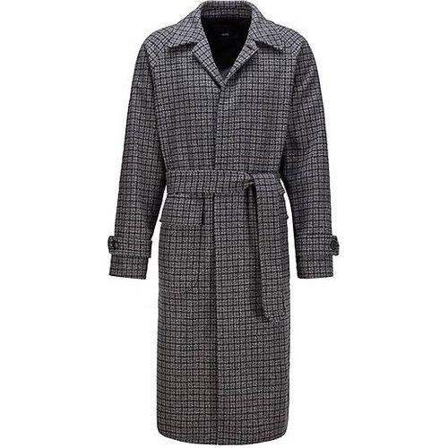 Manteau Relaxed Fit en laine mélangée à carreaux - Boss - Modalova
