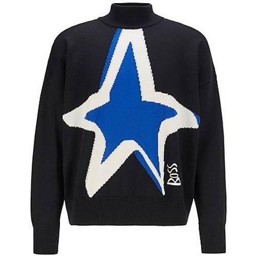 Pull en laine vierge à motif étoile intarsia - Boss - Modalova