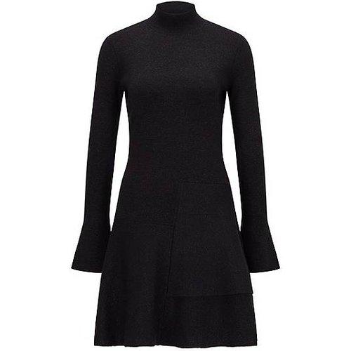 Robe en maille en laine mélangée brillante, à la fois près du corps et évasée - Boss - Modalova