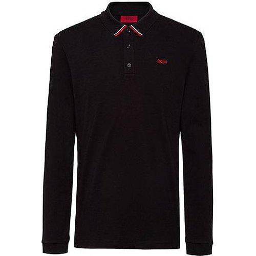 Polo en piqué de coton avec logo inversé brodé - HUGO - Modalova