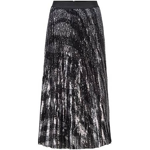 Jupe mi-longue en tissu plissé à imprimé zèbre et à sequins - Boss - Modalova