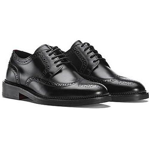Chaussures derby en cuir brossé avec détails richelieu - HUGO - Modalova