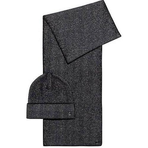 Ensemble écharpe et bonnet en maille avec fil métallisé - HUGO - Modalova