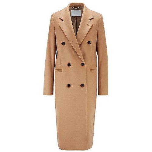 Manteau long en laine vierge, avec franges - Boss - Modalova