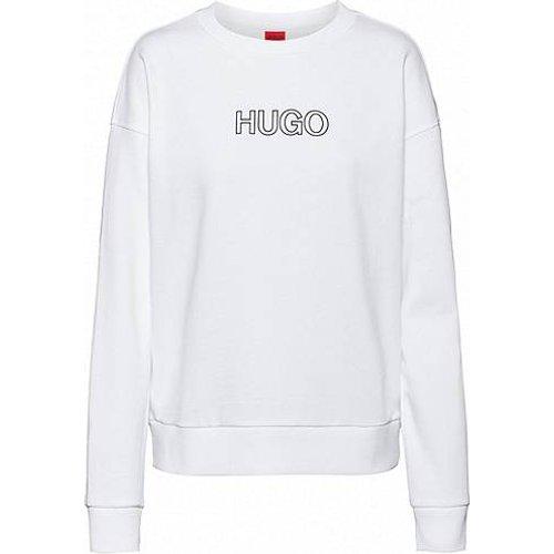 Sweat en molleton de coton biologique avec logo en relief - HUGO - Modalova