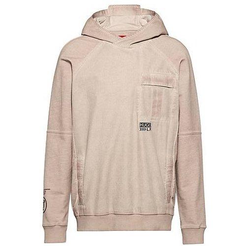 Sweat mixte à capuche en coton avec logo imprimé à chevrons - HUGO - Modalova
