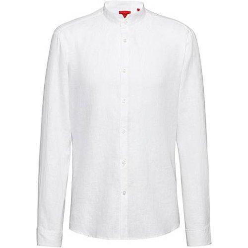 Chemise Extra Slim Fit en lin lavé à col mao - HUGO - Modalova