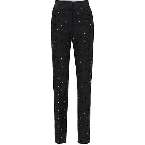 Pantalon Regular Fit en laine vierge avec cristaux Swarovski® - Boss - Modalova