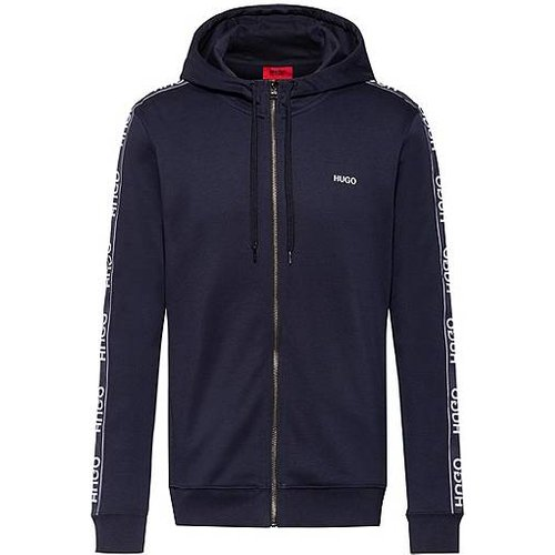 Sweat zippé en coton à capuche avec manches à bande logo inversé - HUGO - Modalova