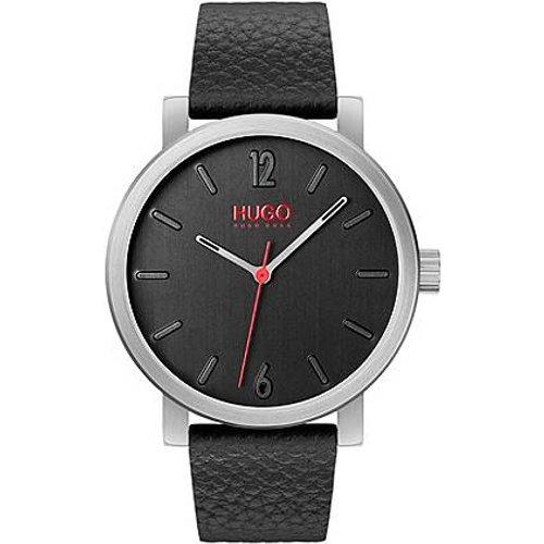 Montre ronde à cadran brossé vertical et bracelet fin en cuir - HUGO - Modalova