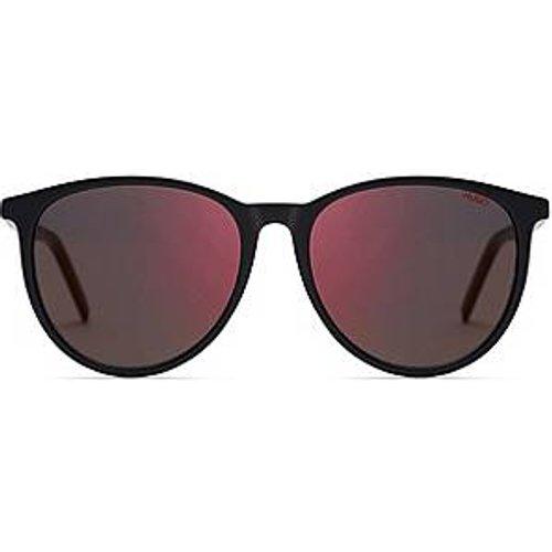 Lunettes de soleil en acétate noir avec verres rouges - HUGO - Modalova