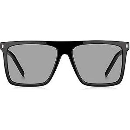 Lunettes de soleil en acétate noir avec verres miroir clips - HUGO - Modalova