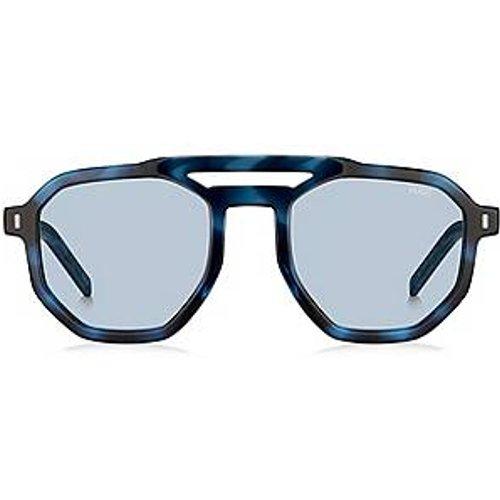 Lunettes de soleil bleues à double pont avec verres miroir à clips - HUGO - Modalova
