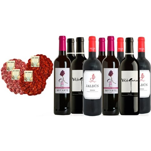 Águeda Spanish Wine and Meat Hamper: Two Chorizo Plates, Two Salchichón Plates and Nine Bottles of Wine