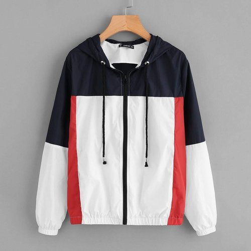 Veste zippée tricolore - SHEIN - Modalova